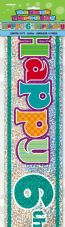 Happy 6th Birthday Party Foil Banner